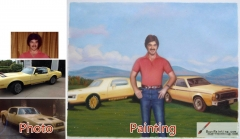 Custom oil portrait-Men and two cars