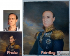 Custom oil portrait-The general looks serious