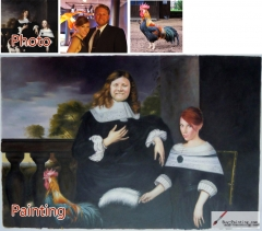 Custom oil portrait-Couple and their cock