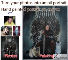 Custom oil portrait-Men and two cats