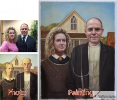 Custom oil portrait-Middle-aged husband and wife