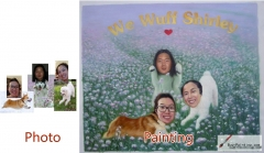 Custom oil portrait-Three girls with dog body