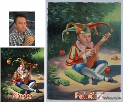 Custom oil portrait-Men playing the guitar