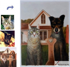 Custom oil portrait-Cat and Dog American Gothic