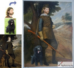 Custom oil portrait-Men and his dog
