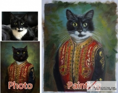 Custom oil portrait-Long beard cat