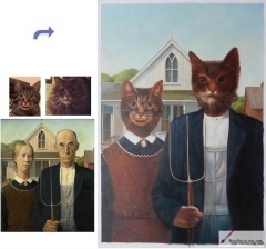 Custom oil portrait-Couple cats American Gothic