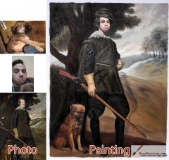 Custom oil portrait-Hunters with guns and dogs