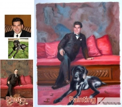 Custom oil portrait-The man sat on the sofa with the dog