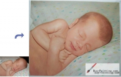Custom Child Portrait-The baby sleeping