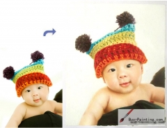 Custom Child Portrait-Baby wearing a hat
