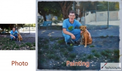 Custom Oil Portrait-Men and yellow dog