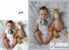 Custom Child Portrait-Child and toy