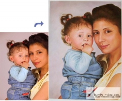 Custom Oil Portrait-Young mother and daughter