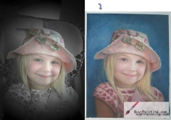 Custom Child Portrait-A little girl in a hat
