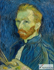 Self-portrait, 1889, National Gallery of Art. His Saint-Rémy self-portraits show the artist's side with the unmutilated ear,he saw himself in mirror