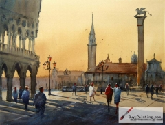 Watercolor painting-Original art poster-Plaza in Rome