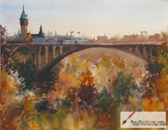 Watercolor painting-Original art poster-Bridge