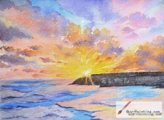 Watercolor painting-Original art poster-Sunset by the sea