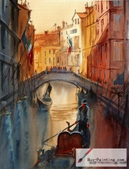 Watercolor painting-Original art poster-Venice