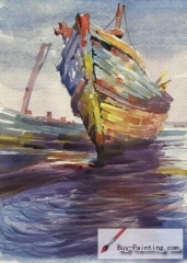 Watercolor painting-Original art poster-Sea boat