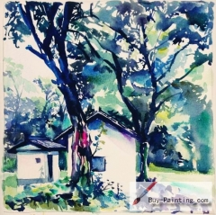 Watercolor painting-House