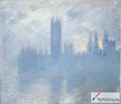 Two paintings from a series of The Houses of Parliament, London, 1900–01,