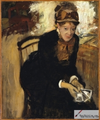 Portrait of Miss Cassatt, Seated, Holding Cards, 1876–1878