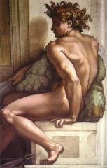 Ignudo fresco from 1509 on the Sistine Chapel ceiling