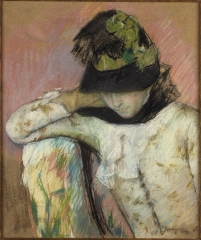 Young Woman in a Black and Green Bonnet, 1890
