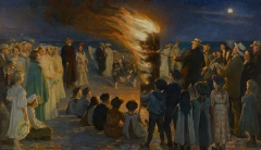 Midsummer Eve Bonfire on Beach, 1906