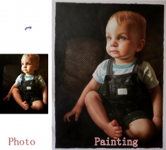 Custom Oil Portrait, Child Portrait, Baby Portrait, Hand Painted Oil Painting, Original Portrait